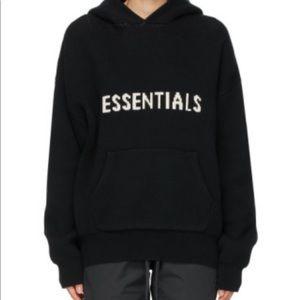 Essentials black knit logo hoodie